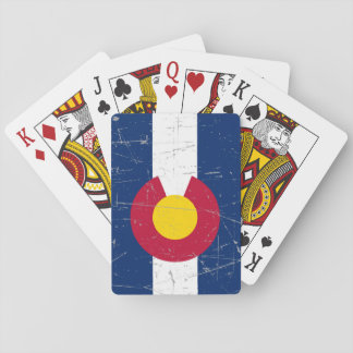 Scuffed and Scratched Colorado Flag Poker Deck
