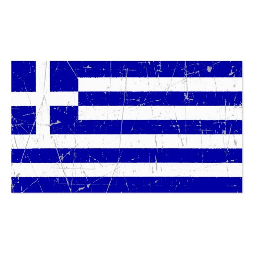 Scuffed and Scratched Greek Flag Business Card Template