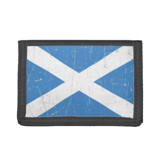 Scuffed and Scratched Scottish Flag Trifold Wallet