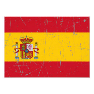 Scuffed and Scratched Spanish Flag Custom Announcements