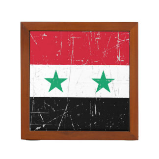 Scuffed and Scratched Syrian Flag Desk Organiser