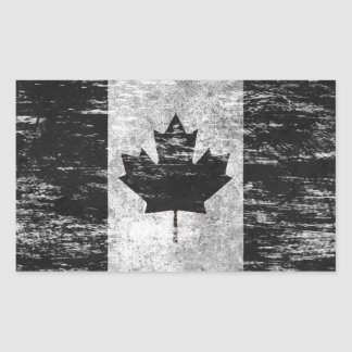 Scuffed and Worn Canadian Flag, black Rectangular Sticker