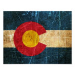 Scuffed and Worn Colorado Flag Poster