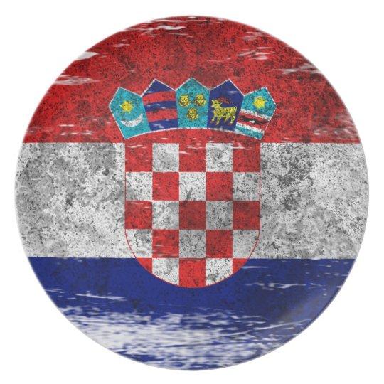 Scuffed and Worn Croatian Flag Plate
