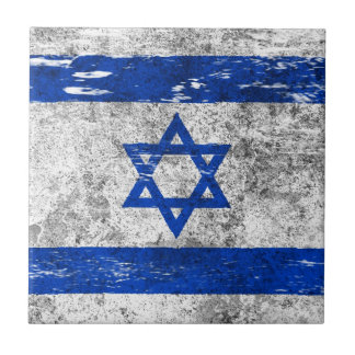 Scuffed and Worn Israeli Flag Small Square Tile