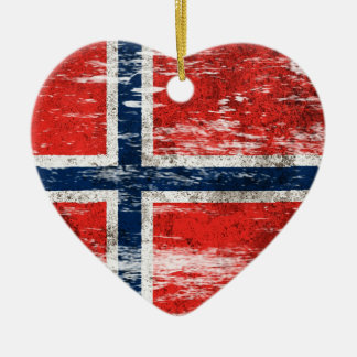 Scuffed and Worn Norwegian Flag Ceramic Ornament