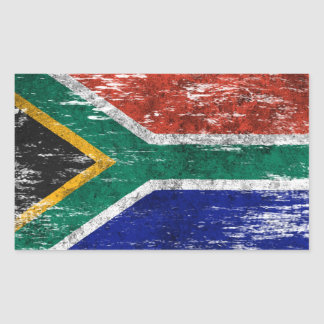 Scuffed and Worn South African Flag Rectangular Sticker