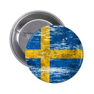 Scuffed and Worn Swedish Flag Pin