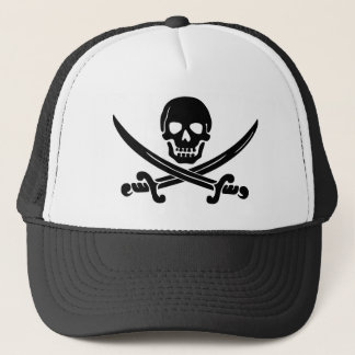 Scull and Crossbones Pirate Trucker Hat