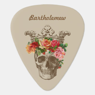 Scull and Flowers Personalized Plectrum
