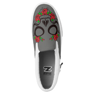 Scull Roses Day of the Dead Gray Slip On Sneakers