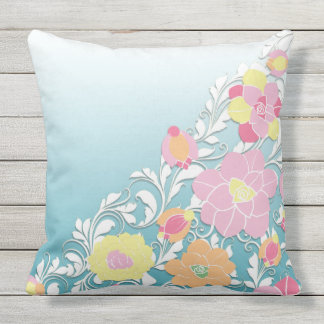 Sculpted Flowers on Blue Ombre by apassion4pixels Throw Pillow