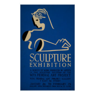 Sculpture Ehibition A Survey Of Work Vintage WPA Poster