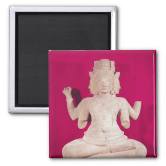 Sculpture of Brahma with four faces 2 Square Magnet