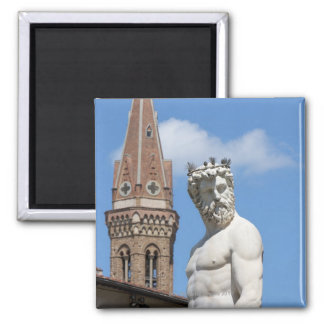 sculpture of Neptune on Fontana di Nettuno Square Magnet