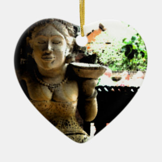 Sculpture Temple in Bali Ceramic Heart Decoration
