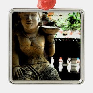 Sculpture Temple in Bali Silver-Colored Square Decoration