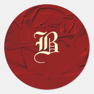 Sculptured Look Red Rose Monogram Classic Round Sticker