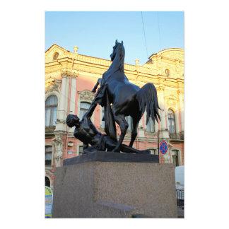Sculptures  the Anichkov bridge in St. Petersburg Photo Print