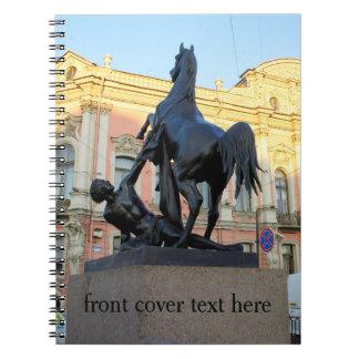 Sculptures  the Anichkov bridge in St. Petersburg Spiral Notebook