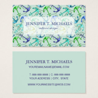 Sea Anchors And Rope Pattern Business Card