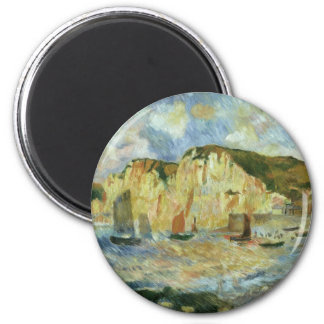 Sea and Cliffs by Pierre Renoir, Vintage Fine Art 6 Cm Round Magnet