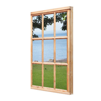 Sea and Grass 3D Effect Window View Picture Canvas Print