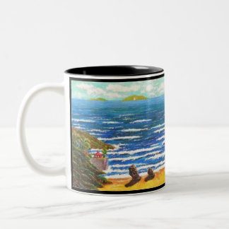 Sea and Life. 100 words with seascape of Pu Tuo Two-Tone Coffee Mug