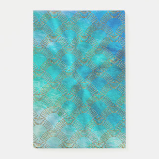 Sea and Mermaid Scales in aqua and gold Post-it Notes