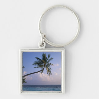 Sea and Palm Tree Silver-Colored Square Key Ring