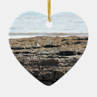 Sea and rocks ceramic heart decoration