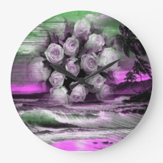 Sea and roses in purple clock