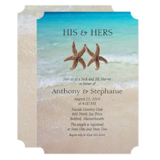 Sea and Sand Couple's Wedding Shower Card