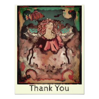 Sea Angel Inspirational Funky Deco Thank You Card