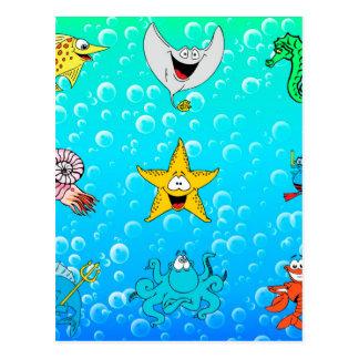 Sea Animal Cartoon Postcard