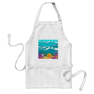 Sea animals under the ocean standard apron