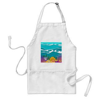 Sea animals under the ocean standard apron