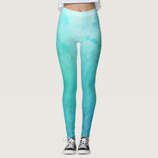 Sea, Aqua Blue Custom Leggings