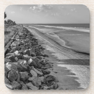 Sea Barrier Atlantic Ocean Georgia Black and White Coasters