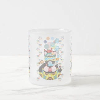 Sea bathing cat in summer frosted glass coffee mug