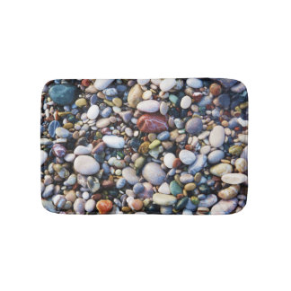 Sea Beach Pebbles and Colourful Rocks Bath Mat