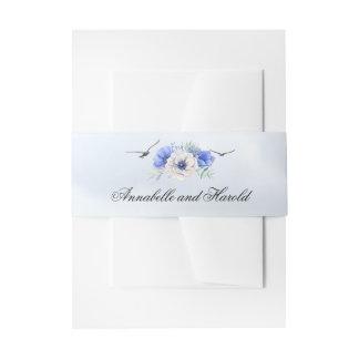 Sea Birds and Blue Flowers Beach Wedding Invitation Belly Band