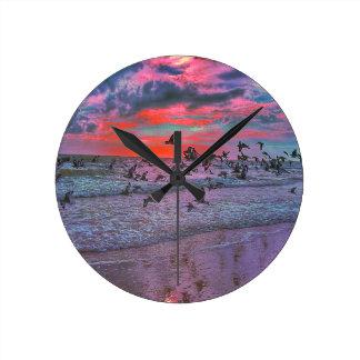Sea Birds Flying Over Tropical Beach Round Clock