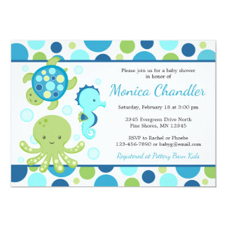 Sea Blue Baby Shower Invitations