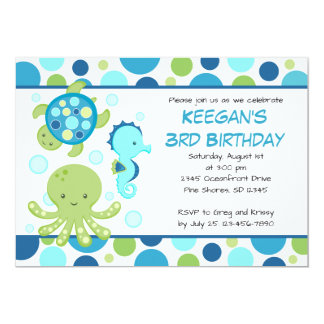 Sea Blue Birthday Invitations