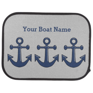 Sea Blue Boat Anchor and Customized Ship Name Car Mat