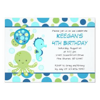 Sea Blue Boy or Girl Birthday Invitations