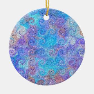 Sea Blue Curls Round Ceramic Decoration