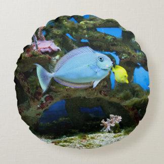 Sea Blue Fish Round Cushion