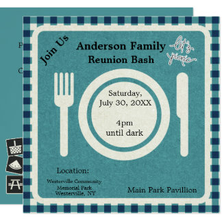 Sea Blue Gingham and Pictogram Picnic Invitation